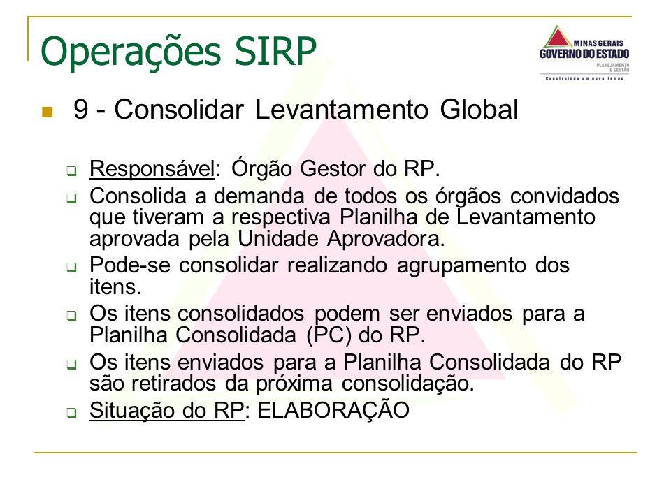 9 - Consolidar Levantamento Global Responsável: Órgão Gestor do RP. Consolida a demanda de todos os órgãos convidados que tiveram a respectiva Planilh