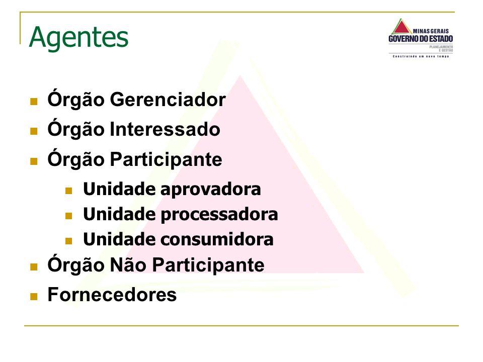 Órgão Gerenciador Órgão Interessado Órgão Participante Unidade aprovadora Unidade processadora Unidade consumidora Órgão Não Participante Fornecedores