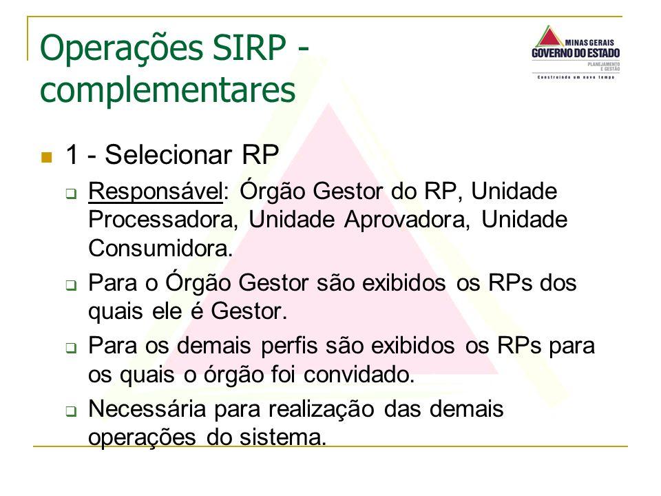 1 - Selecionar RP Responsável: Órgão Gestor do RP, Unidade Processadora, Unidade Aprovadora, Unidade Consumidora. Para o Órgão Gestor são exibidos os