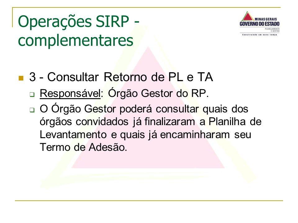 3 - Consultar Retorno de PL e TA Responsável: Órgão Gestor do RP. O Órgão Gestor poderá consultar quais dos órgãos convidados já finalizaram a Planilh