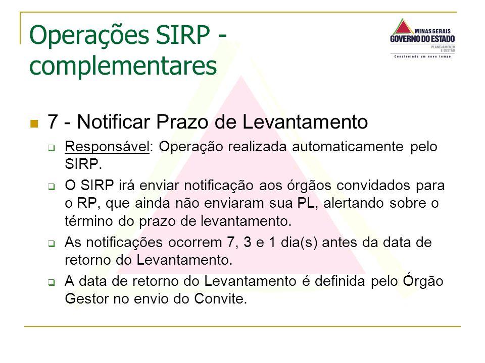 7 - Notificar Prazo de Levantamento Responsável: Operação realizada automaticamente pelo SIRP. O SIRP irá enviar notificação aos órgãos convidados par