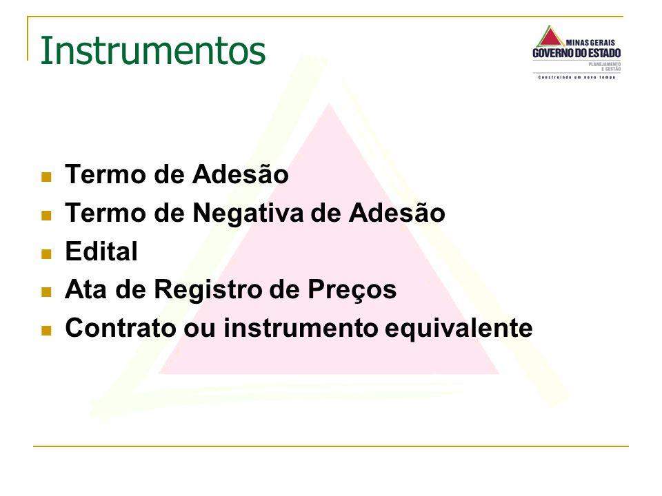Termo de Adesão Termo de Negativa de Adesão Edital Ata de Registro de Preços Contrato ou instrumento equivalente Instrumentos