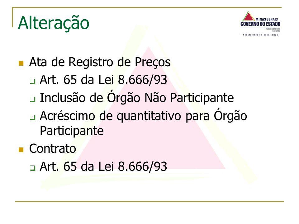 Ata de Registro de Preços Art. 65 da Lei 8.666/93 Inclusão de Órgão Não Participante Acréscimo de quantitativo para Órgão Participante Contrato Art. 6