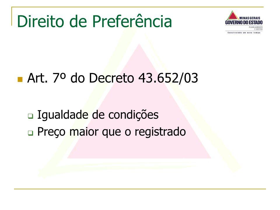 Art. 7º do Decreto 43.652/03 Igualdade de condições Preço maior que o registrado Direito de Preferência