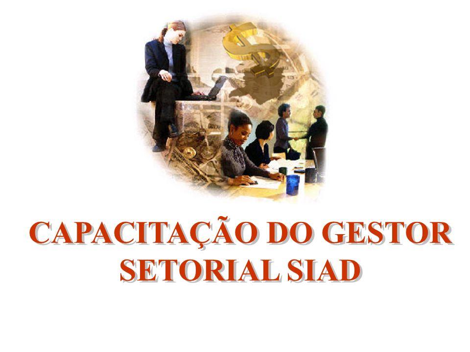 CAPACITAÇÃO DO GESTOR SETORIAL SIAD