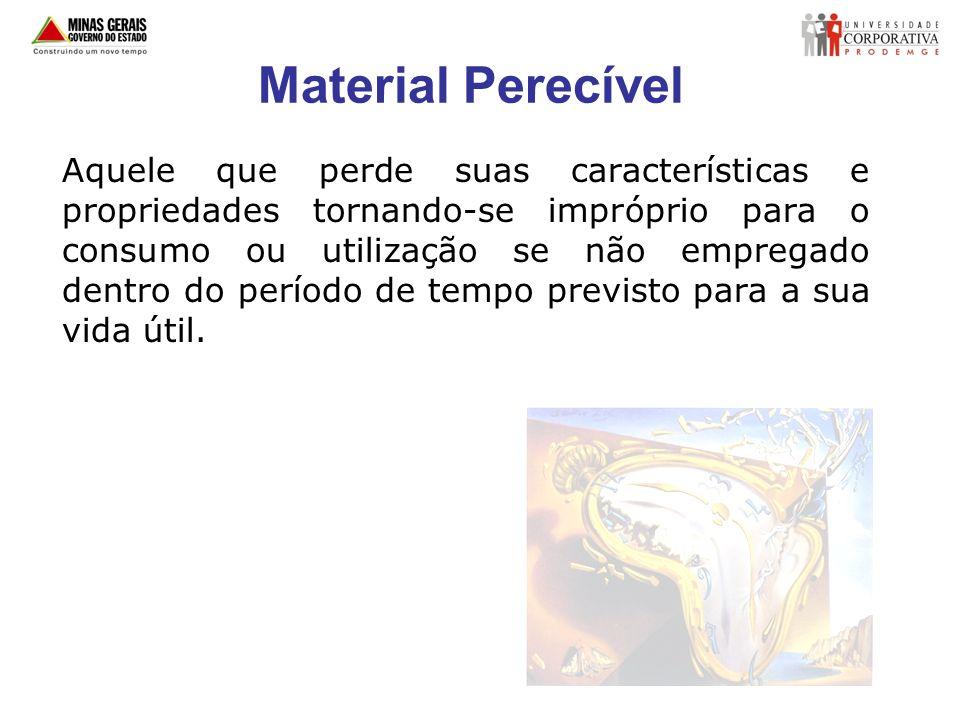 Material Perecível Aquele que perde suas características e propriedades tornando-se impróprio para o consumo ou utilização se não empregado dentro do