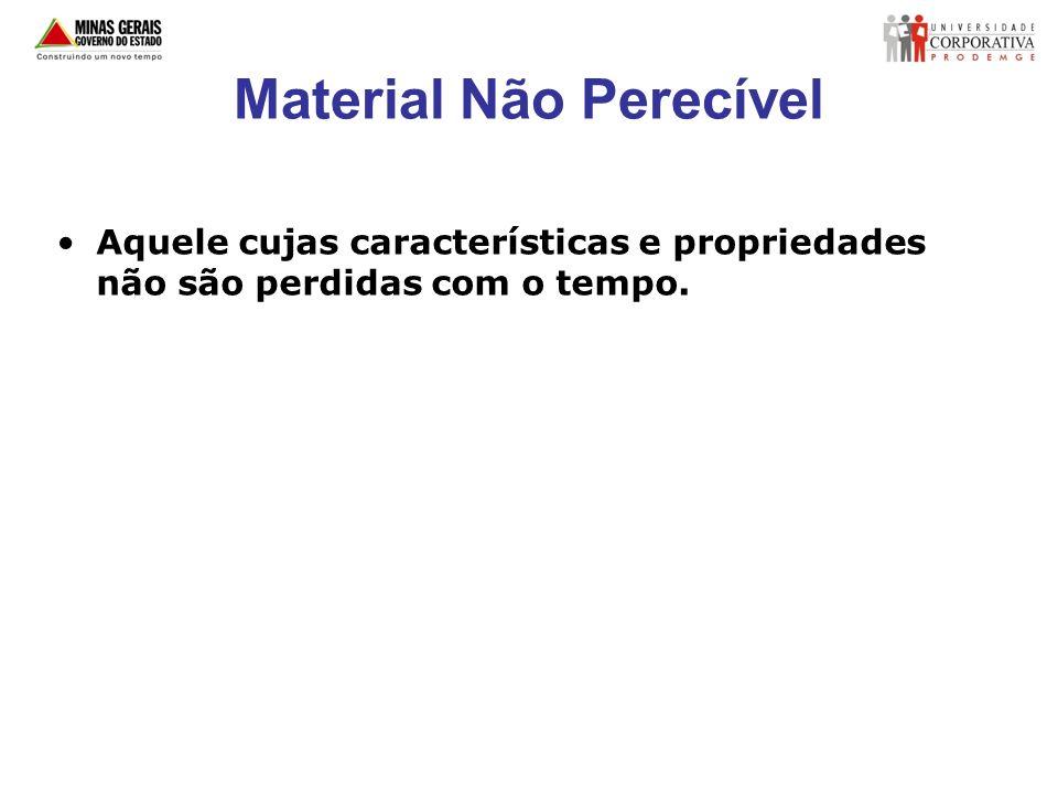 Material Não Perecível Aquele cujas características e propriedades não são perdidas com o tempo.