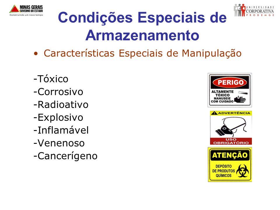 Condições Especiais de Armazenamento Características Especiais de Manipulação -Tóxico -Corrosivo -Radioativo -Explosivo -Inflamável -Venenoso -Cancerí