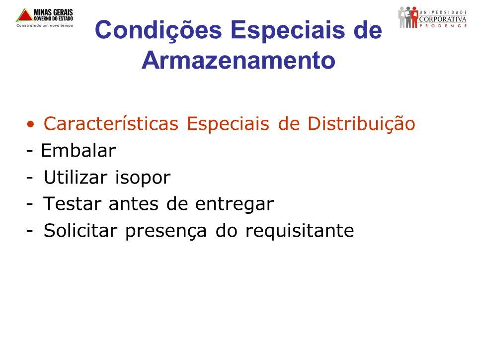 Condições Especiais de Armazenamento Características Especiais de Distribuição - Embalar -Utilizar isopor -Testar antes de entregar -Solicitar presenç