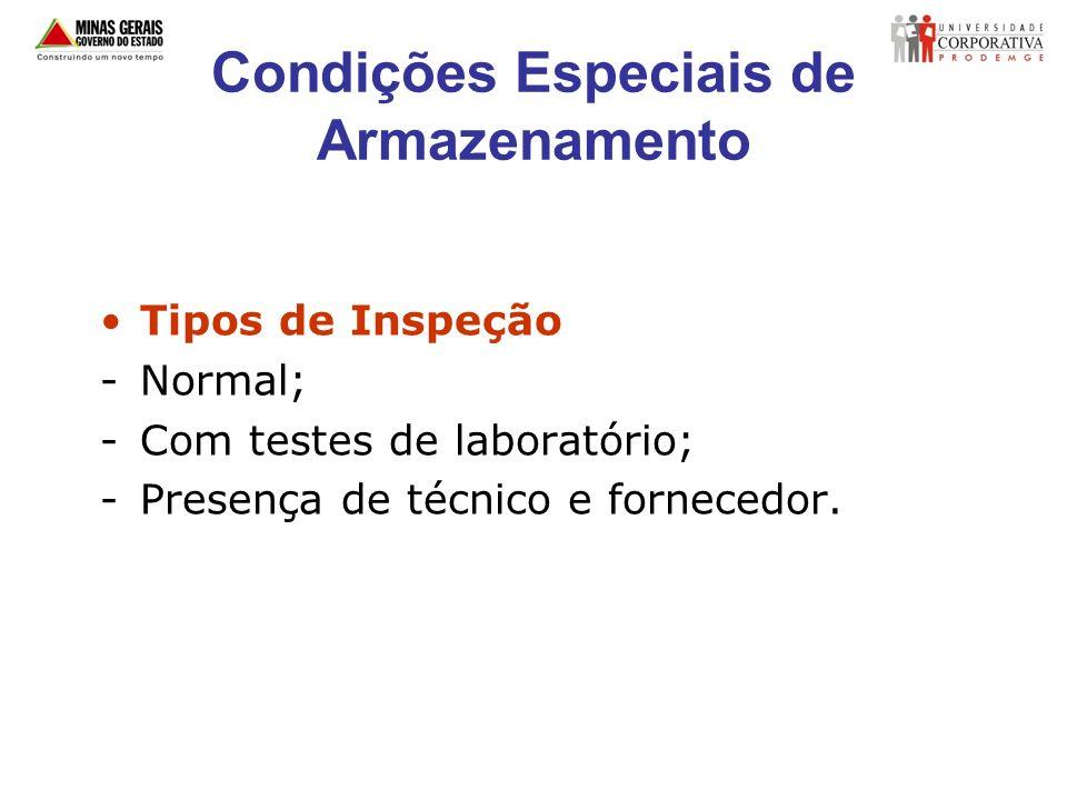 Condições Especiais de Armazenamento Tipos de Inspeção -Normal; -Com testes de laboratório; -Presença de técnico e fornecedor.