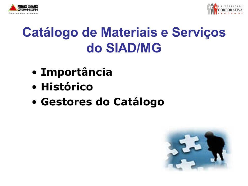 Estrutura do Catálogo de Materiais Grupo Classe Material Item de Material
