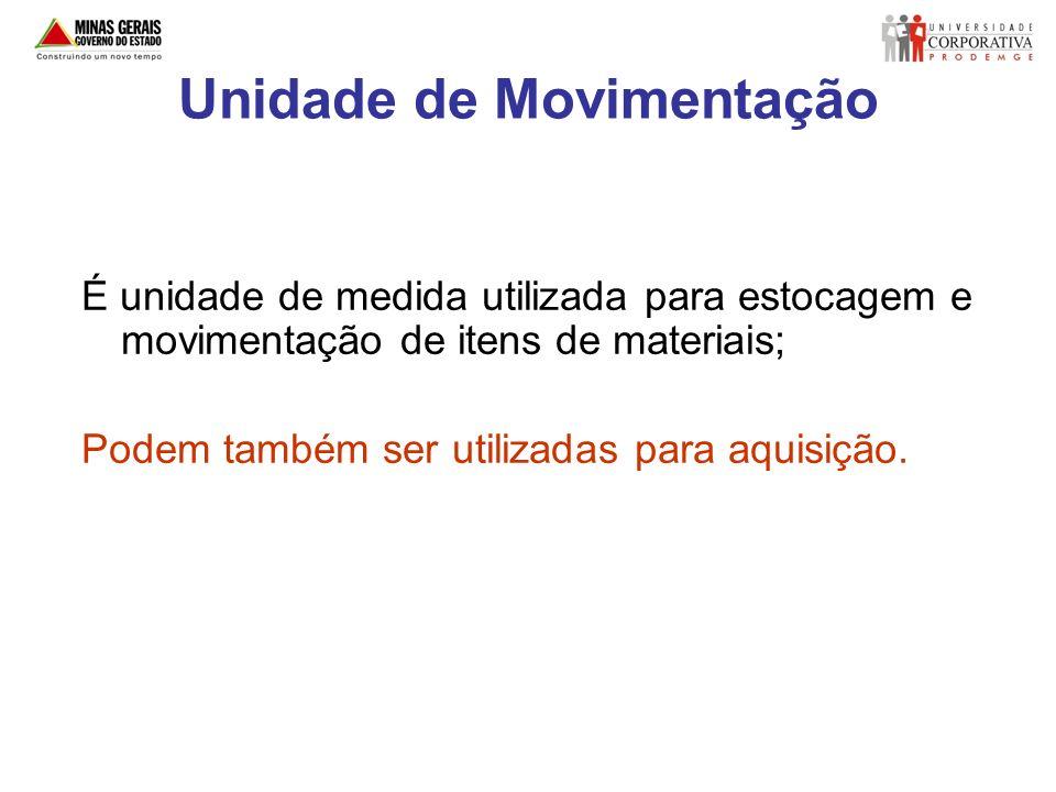 Unidade de Movimentação É unidade de medida utilizada para estocagem e movimentação de itens de materiais; Podem também ser utilizadas para aquisição.