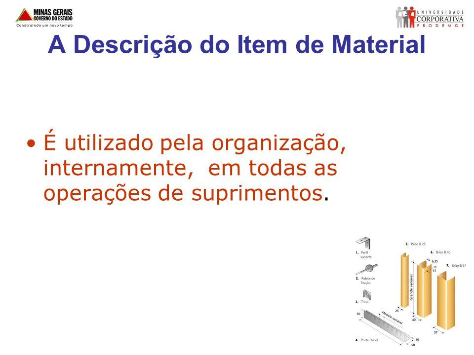 A Descrição do Item de Material É utilizado pela organização, internamente, em todas as operações de suprimentos.