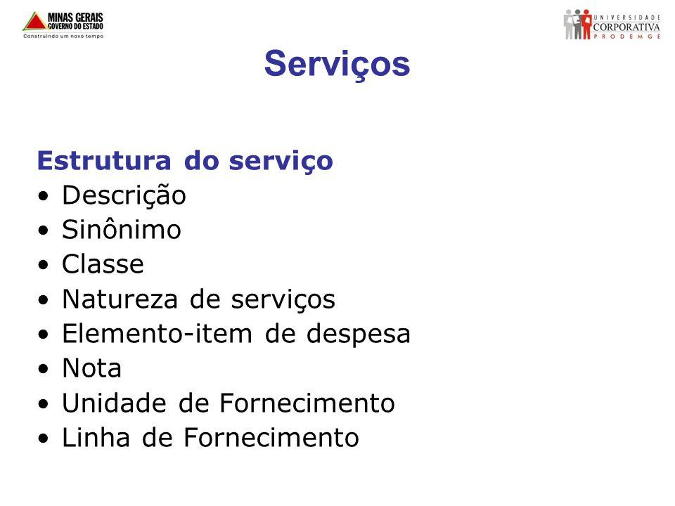 Serviços Estrutura do serviço Descrição Sinônimo Classe Natureza de serviços Elemento-item de despesa Nota Unidade de Fornecimento Linha de Fornecimen
