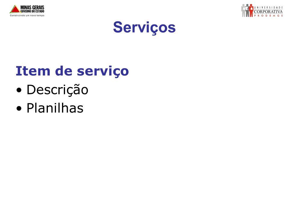 Serviços Item de serviço Descrição Planilhas