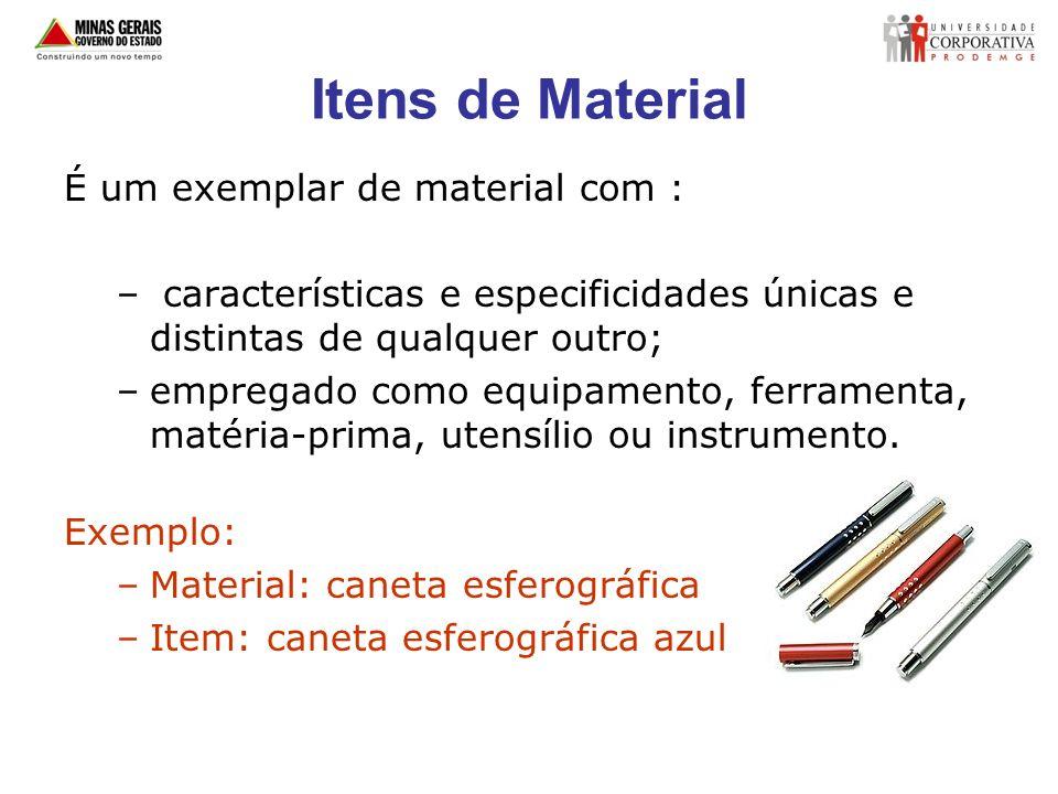 Itens de Material É um exemplar de material com : – características e especificidades únicas e distintas de qualquer outro; –empregado como equipament
