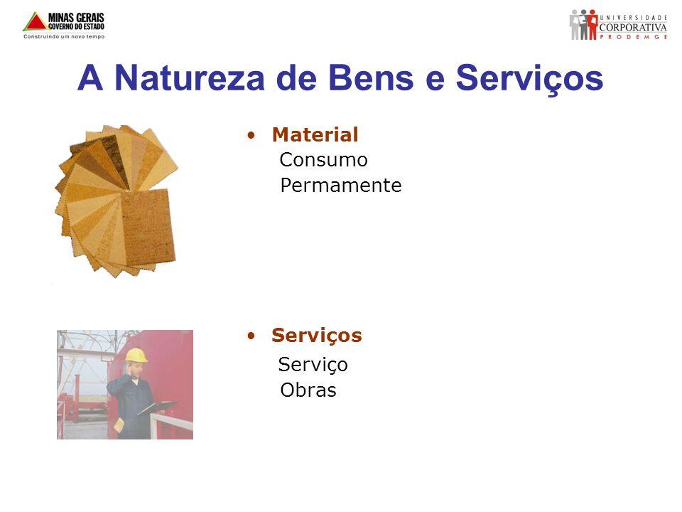 A Natureza de Bens e Serviços Material Consumo Permamente Serviços Serviço Obras