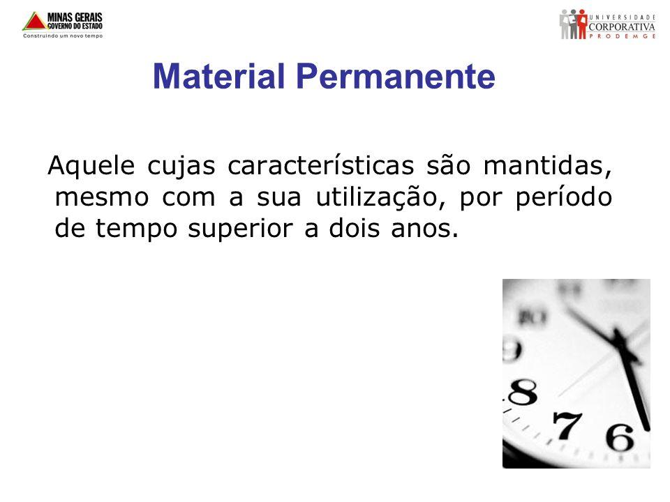 Material de Consumo Aquele cujas características são perdidas após certo período de tempo.