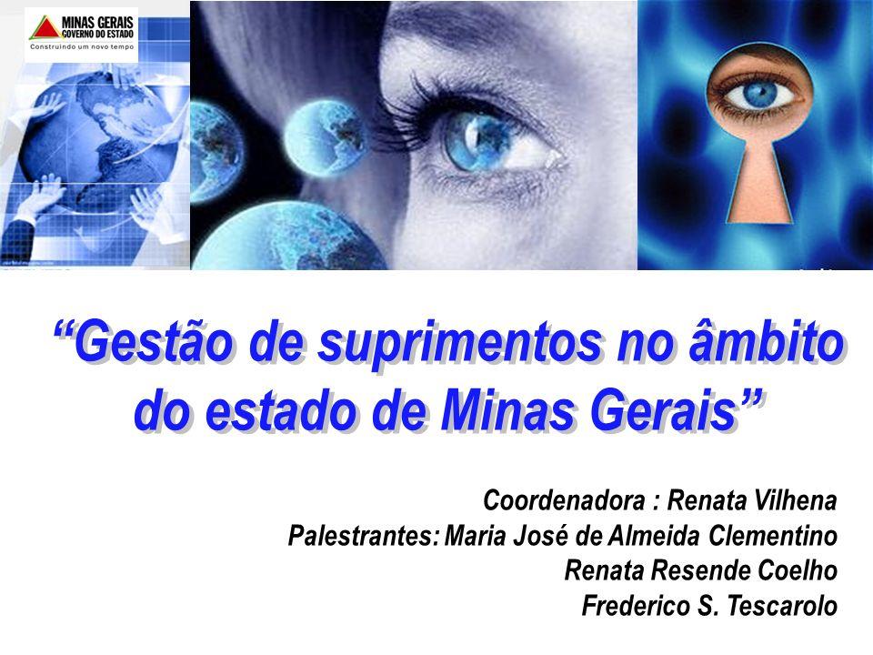 Gestão de suprimentos no âmbito do estado de Minas Gerais Coordenadora : Renata Vilhena Palestrantes: Maria José de Almeida Clementino Renata Resende