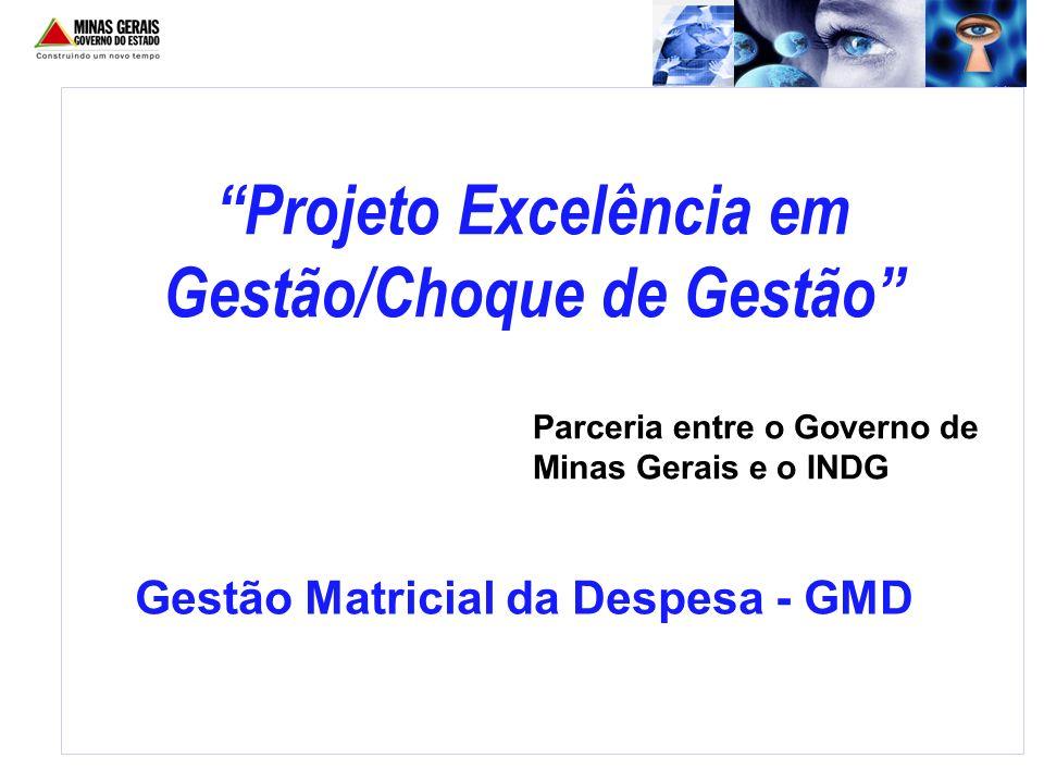 Projeto Excelência em Gestão/Choque de Gestão Parceria entre o Governo de Minas Gerais e o INDG Gestão Matricial da Despesa - GMD