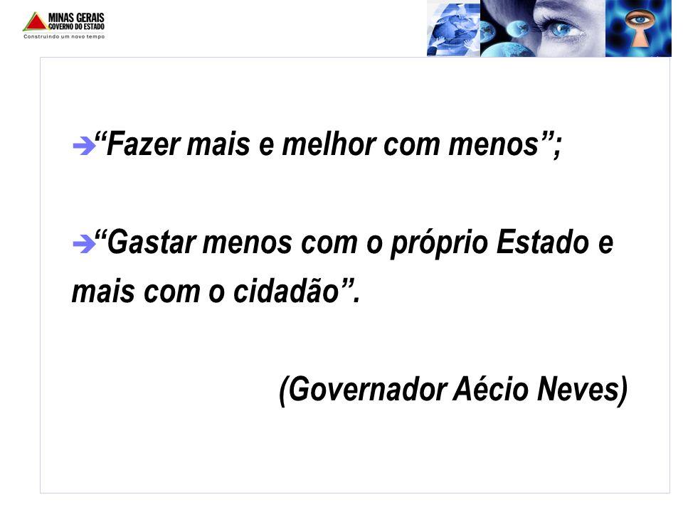 è Fazer mais e melhor com menos; è Gastar menos com o próprio Estado e mais com o cidadão. (Governador Aécio Neves)