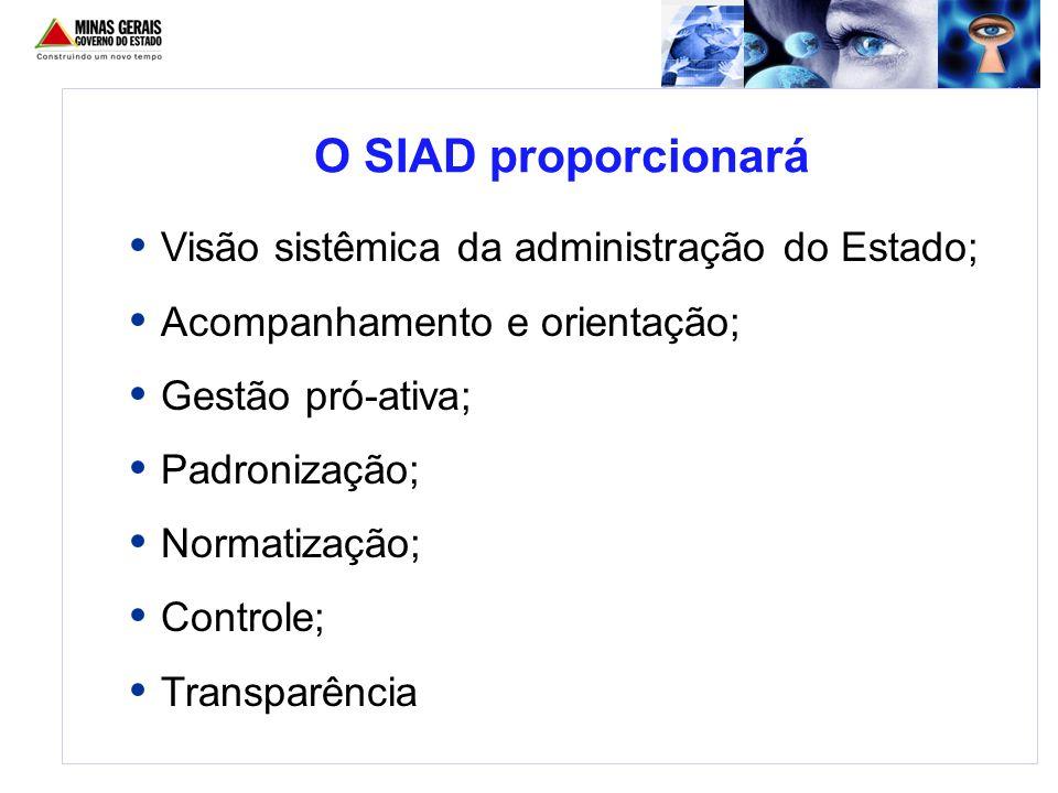 O SIAD proporcionará Visão sistêmica da administração do Estado; Acompanhamento e orientação; Gestão pró-ativa; Padronização; Normatização; Controle;