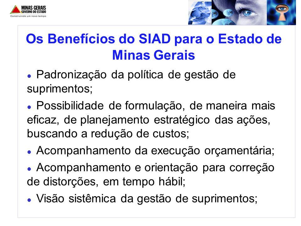 Os Benefícios do SIAD para o Estado de Minas Gerais Padronização da política de gestão de suprimentos; Possibilidade de formulação, de maneira mais ef
