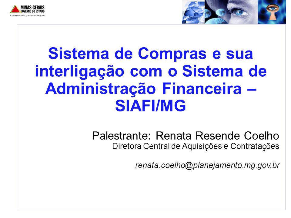 Palestrante: Renata Resende Coelho Diretora Central de Aquisições e Contratações renata.coelho@planejamento.mg.gov.br Sistema de Compras e sua interli