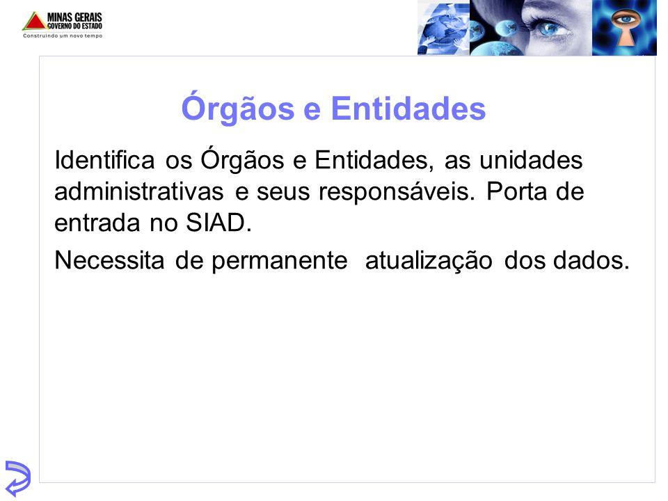 Órgãos e Entidades Identifica os Órgãos e Entidades, as unidades administrativas e seus responsáveis. Porta de entrada no SIAD. Necessita de permanent