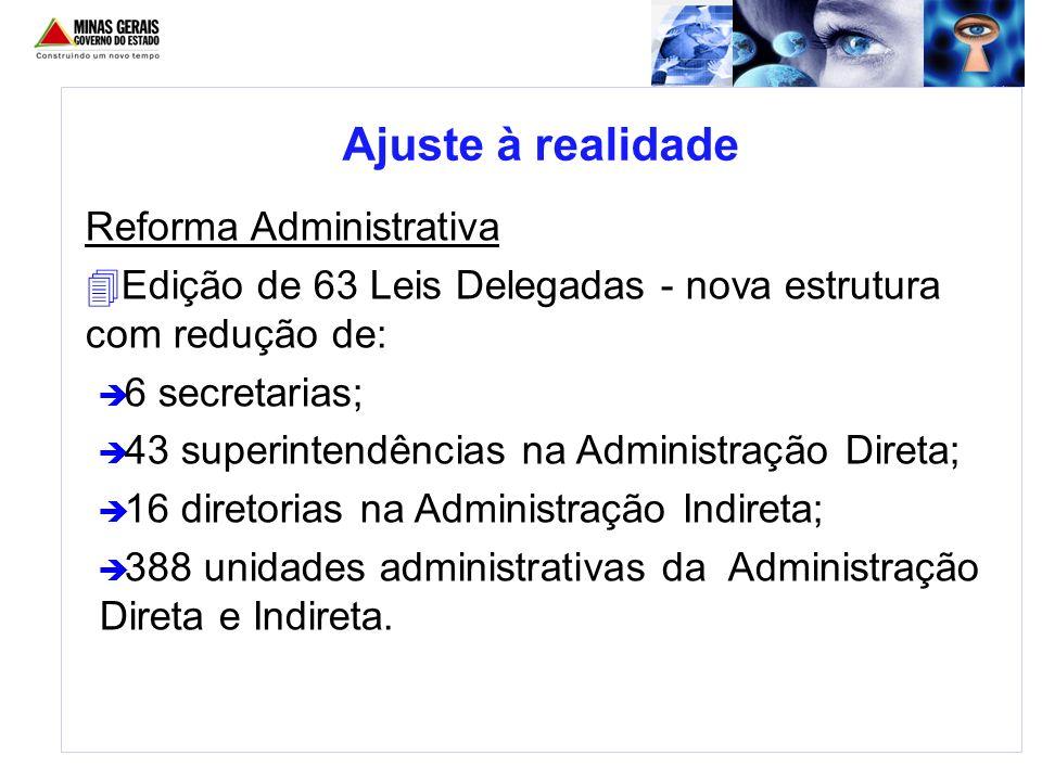 Reforma Administrativa 4Edição de 63 Leis Delegadas - nova estrutura com redução de: è 6 secretarias; è 43 superintendências na Administração Direta;