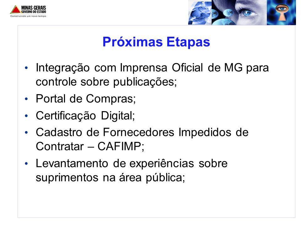 Integração com Imprensa Oficial de MG para controle sobre publicações; Portal de Compras; Certificação Digital; Cadastro de Fornecedores Impedidos de