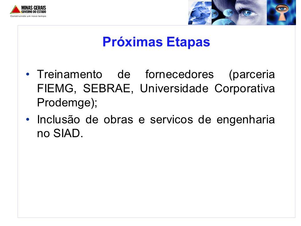 Treinamento de fornecedores (parceria FIEMG, SEBRAE, Universidade Corporativa Prodemge); Inclusão de obras e servicos de engenharia no SIAD. Próximas