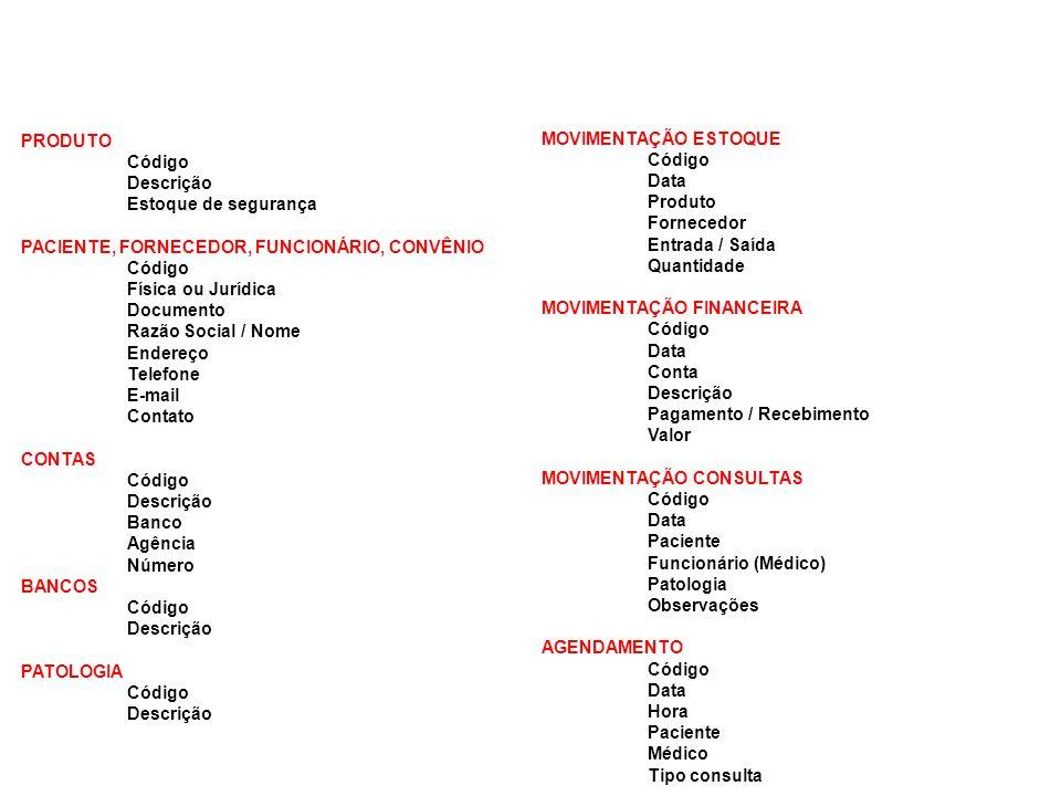 PRODUTO Código Descrição Estoque de segurança PACIENTE, FORNECEDOR, FUNCIONÁRIO, CONVÊNIO Código Física ou Jurídica Documento Razão Social / Nome Ende