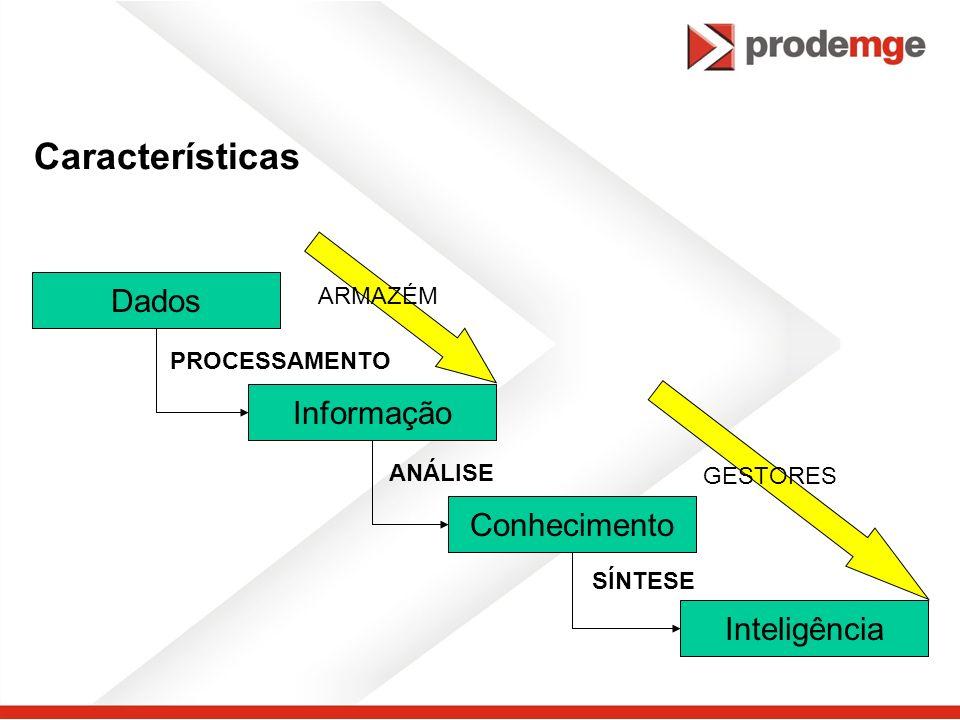 Características Dados Informação Conhecimento Inteligência PROCESSAMENTO ANÁLISE SÍNTESE ARMAZÉM GESTORES