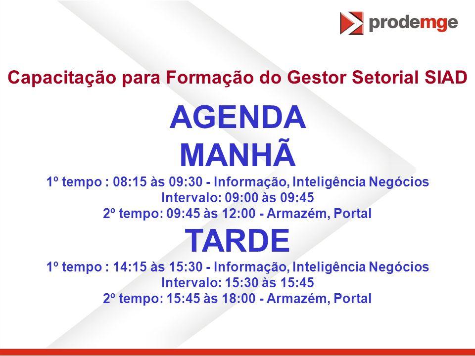 Capacitação para Formação do Gestor Setorial SIAD AGENDA MANHÃ 1º tempo : 08:15 às 09:30 - Informação, Inteligência Negócios Intervalo: 09:00 às 09:45