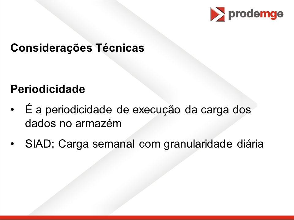 Considerações Técnicas Periodicidade É a periodicidade de execução da carga dos dados no armazém SIAD: Carga semanal com granularidade diária