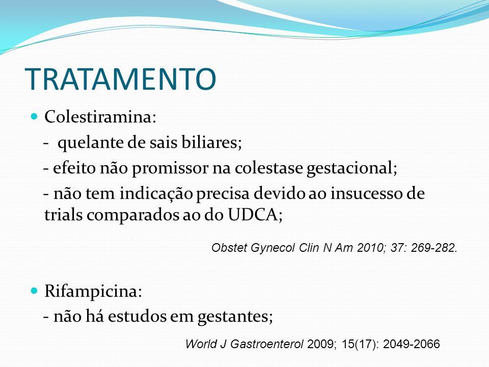 TRATAMENTO Colestiramina: - quelante de sais biliares; - efeito não promissor na colestase gestacional; - não tem indicação precisa devido ao insucess