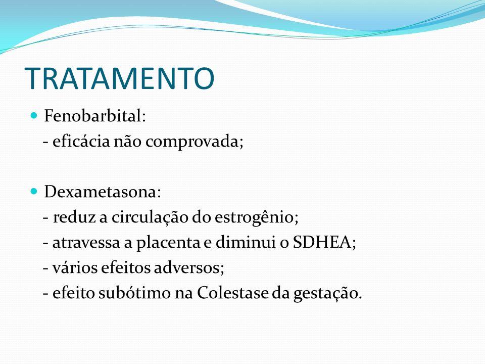TRATAMENTO Fenobarbital: - eficácia não comprovada; Dexametasona: - reduz a circulação do estrogênio; - atravessa a placenta e diminui o SDHEA; - vári