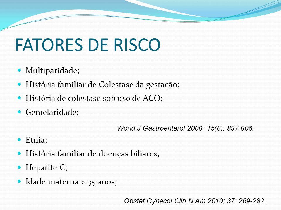 FATORES DE RISCO Multiparidade; História familiar de Colestase da gestação; História de colestase sob uso de ACO; Gemelaridade; Etnia; História famili