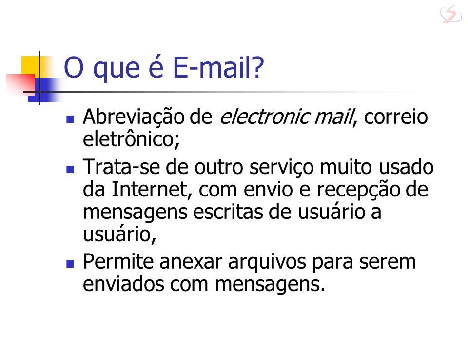 Programas de acesso ao e-mail Microsoft Outlook Netscape Navigator WebMail e-mail através da Web utiliza browsers (não necessita de programa especial) extremamente popular com o surgimento de sites com e-mail grátis ZipMail, Brasil On-Line (bol), Gmail, HotMail, Terra,...