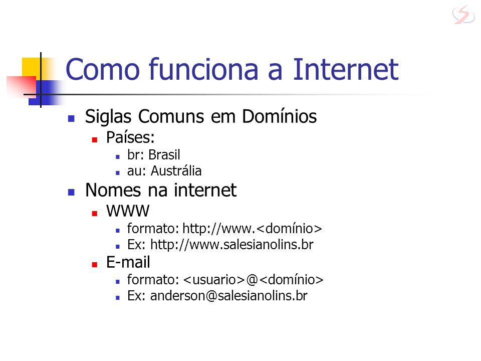 Como funciona a Internet Siglas Comuns em Domínios Países: br: Brasil au: Austrália Nomes na internet WWW formato: http://www. Ex: http://www.salesian
