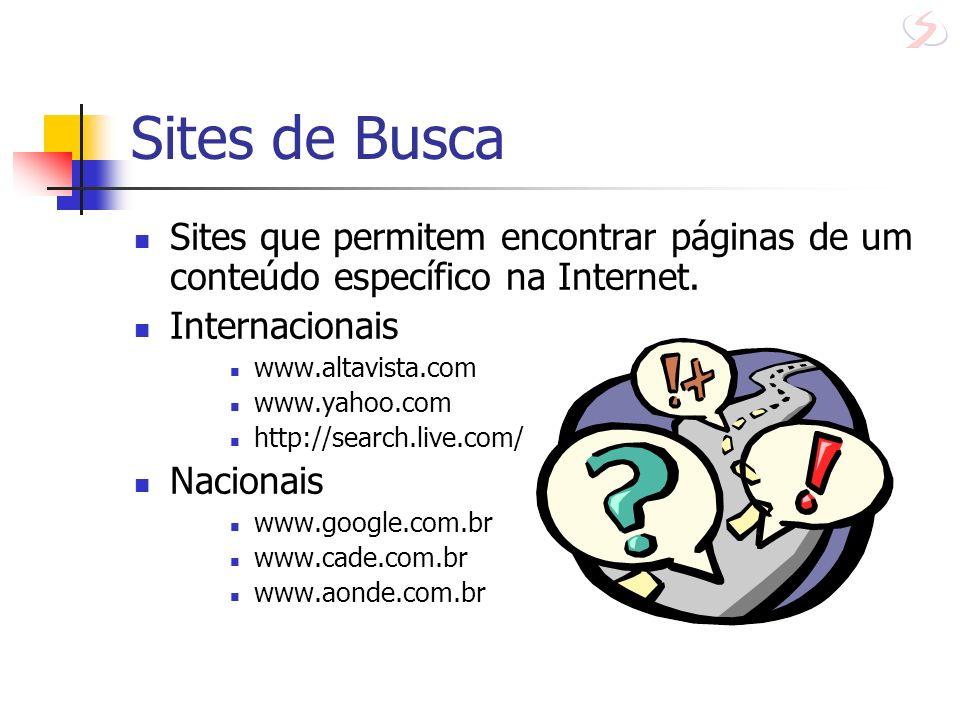 Sites de Busca Sites que permitem encontrar páginas de um conteúdo específico na Internet. Internacionais www.altavista.com www.yahoo.com http://searc