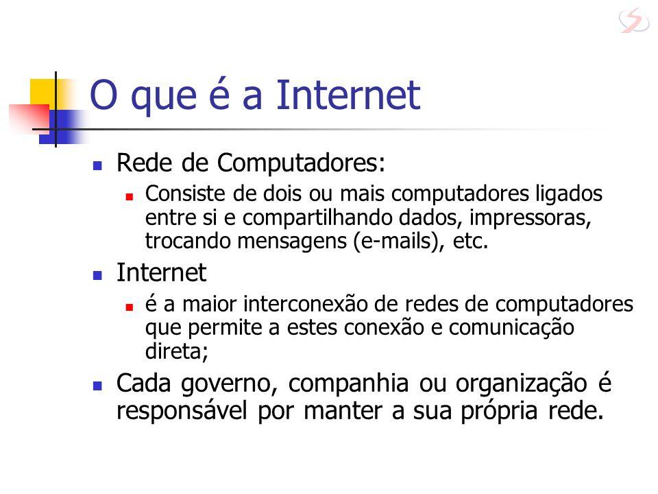 O que é a Internet Rede de Computadores: Consiste de dois ou mais computadores ligados entre si e compartilhando dados, impressoras, trocando mensagen