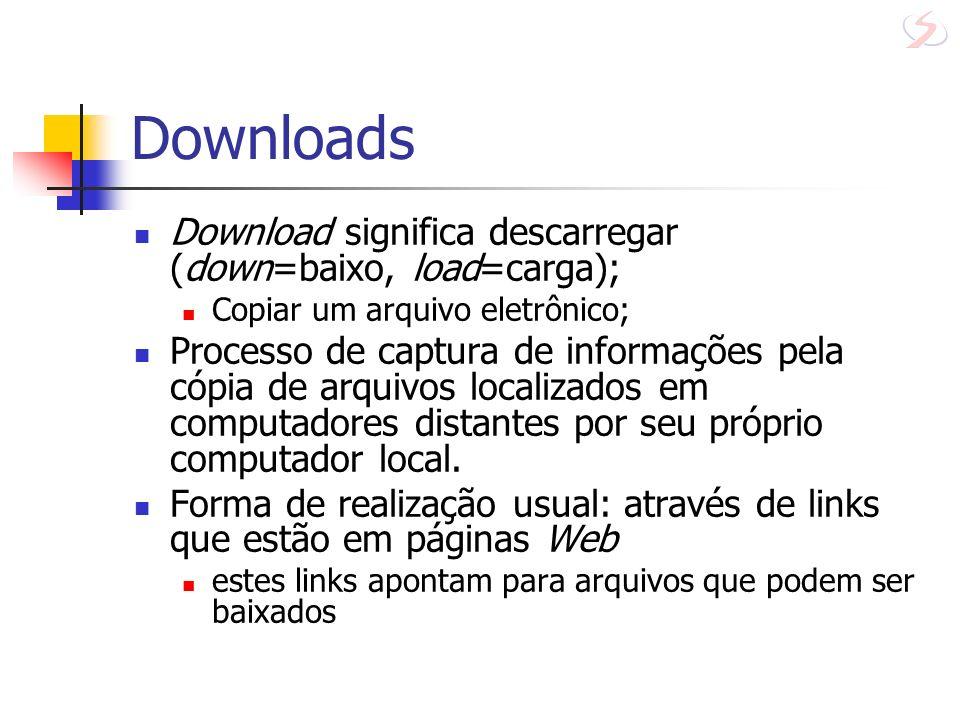 Downloads Download significa descarregar (down=baixo, load=carga); Copiar um arquivo eletrônico; Processo de captura de informações pela cópia de arqu