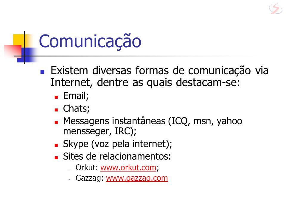 Comunicação Existem diversas formas de comunicação via Internet, dentre as quais destacam-se: Email; Chats; Messagens instantâneas (ICQ, msn, yahoo me