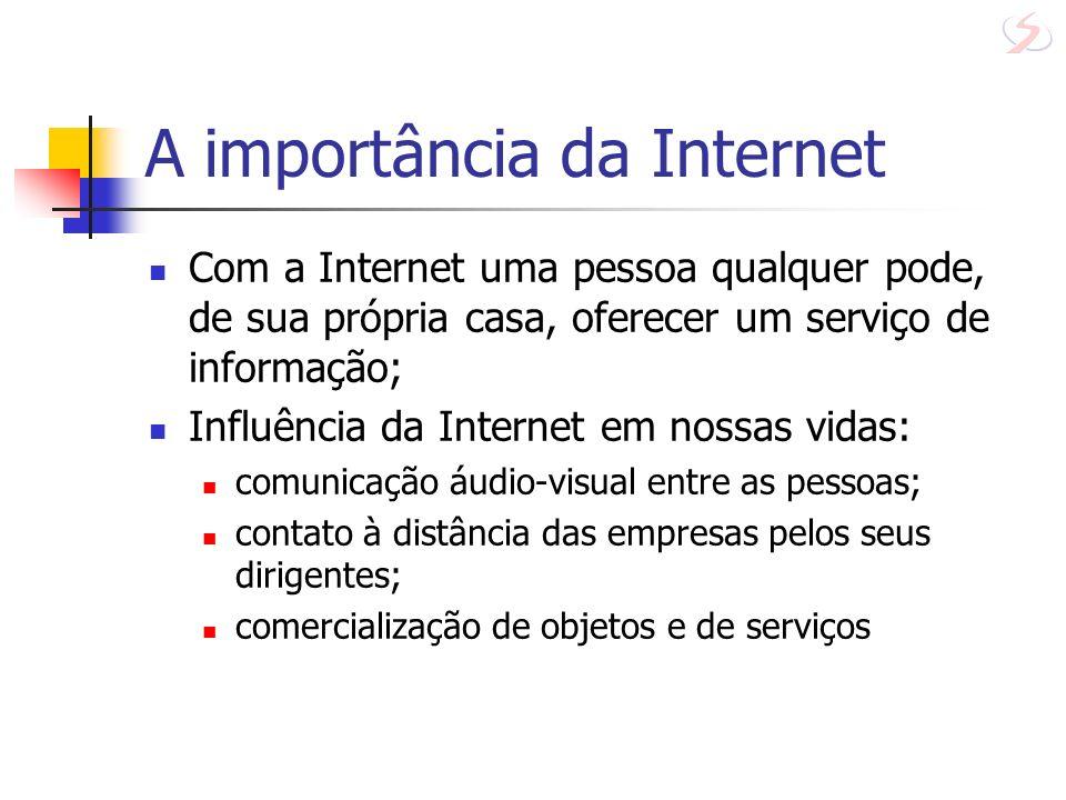 A importância da Internet Influências da Internet em nossas vidas: administração governamental, como o site da Receita Federal; A disposição, para qualquer um, de grande parte do conhecimento da humanidade adquirido até os dias atuais.