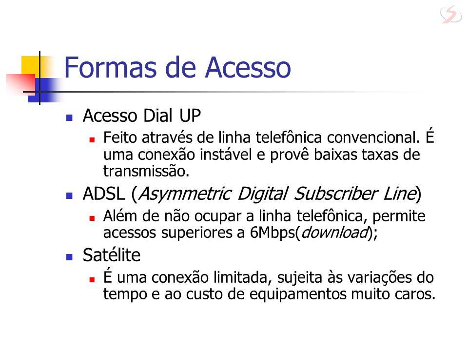 Formas de Acesso Acesso Dial UP Feito através de linha telefônica convencional. É uma conexão instável e provê baixas taxas de transmissão. ADSL (Asym