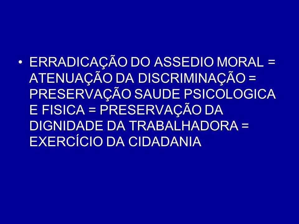 ERRADICAÇÃO DO ASSEDIO MORAL = ATENUAÇÃO DA DISCRIMINAÇÃO = PRESERVAÇÃO SAUDE PSICOLOGICA E FISICA = PRESERVAÇÃO DA DIGNIDADE DA TRABALHADORA = EXERCÍ