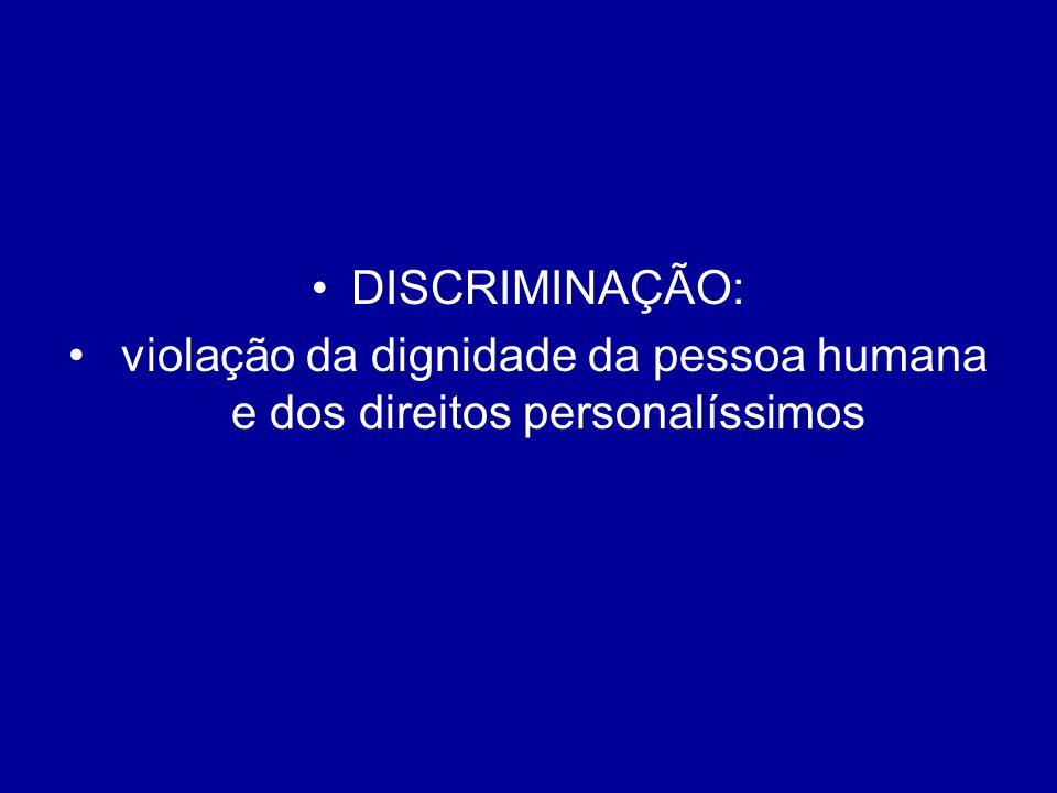 DISCRIMINAÇÃO: violação da dignidade da pessoa humana e dos direitos personalíssimos