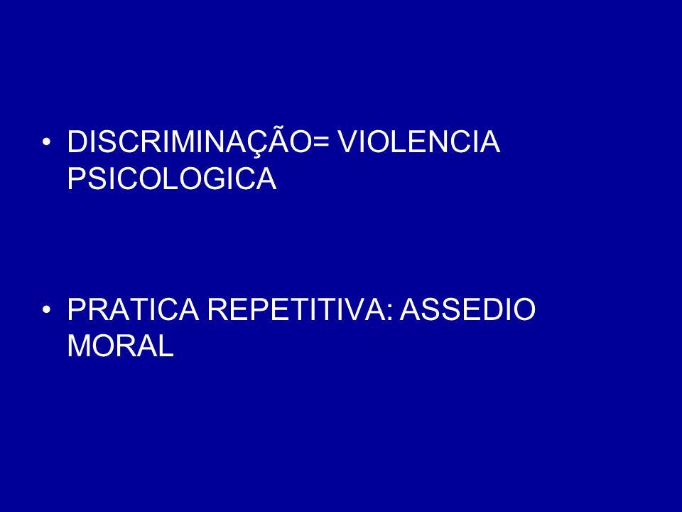 DISCRIMINAÇÃO= VIOLENCIA PSICOLOGICA PRATICA REPETITIVA: ASSEDIO MORAL